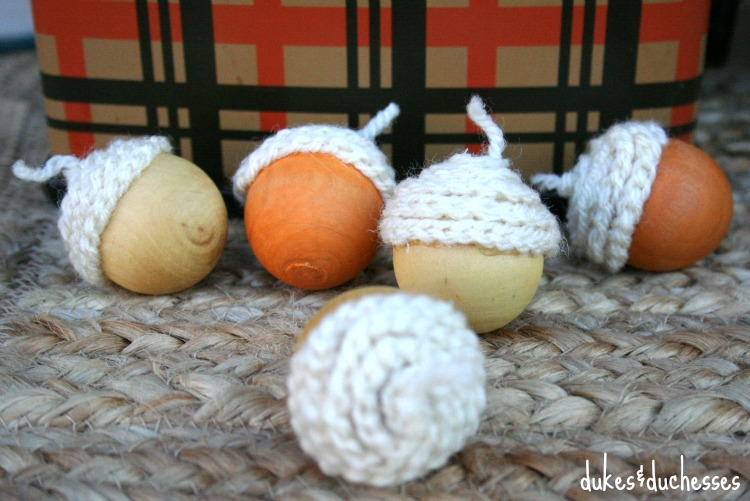 acorns with crocheted tops