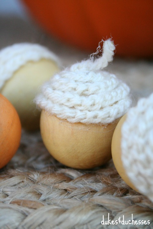 crochet chain on top of acorns