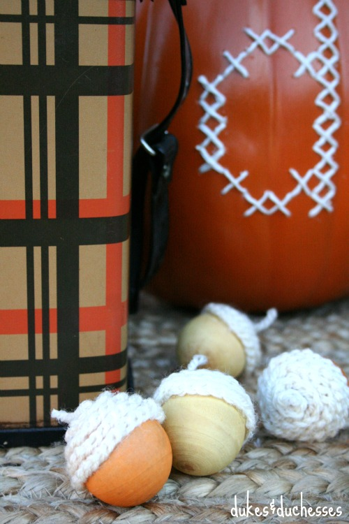faux crochet topped acorns
