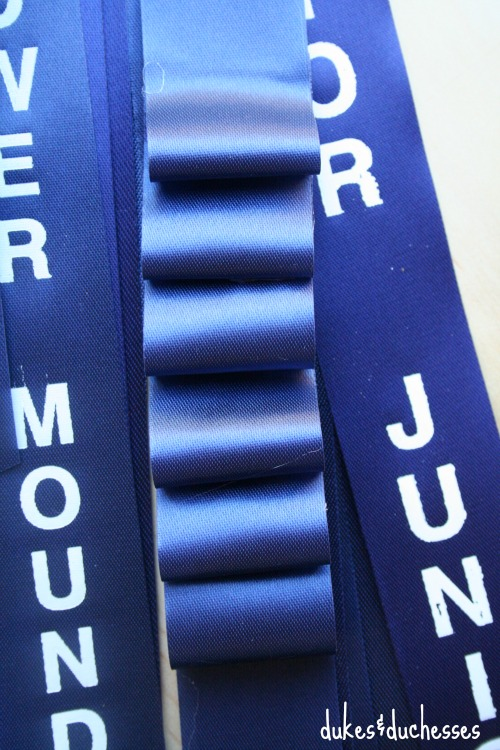 folded ribbon on homecoming mum