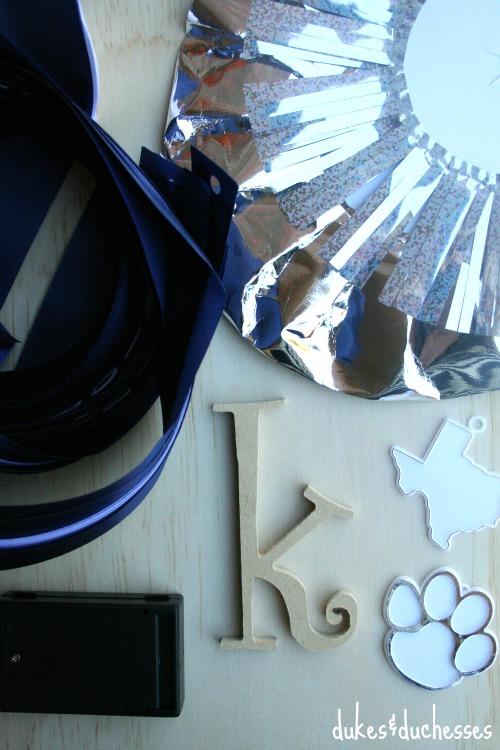 supplies for DIY homecoming mum