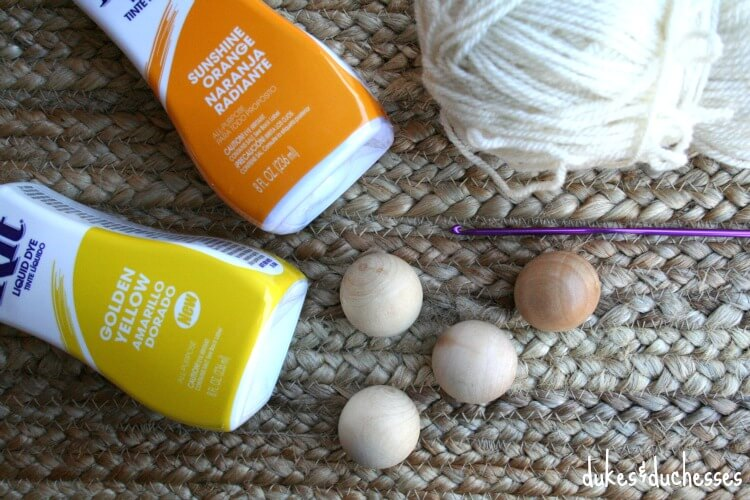 supplies for crochet topped acorns