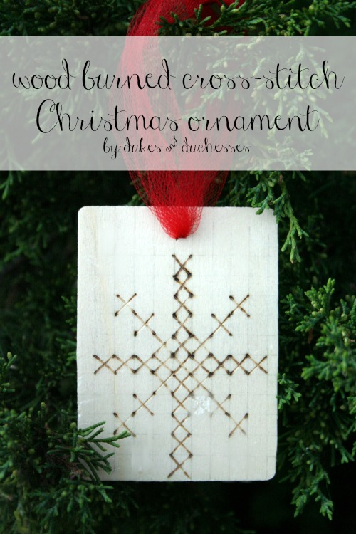 wood burned cross stitch Christmas ornament