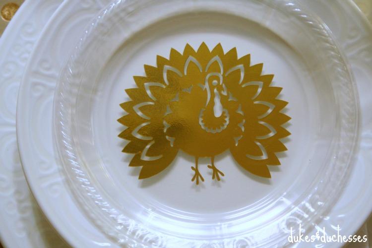 DIY metallic turkey plates