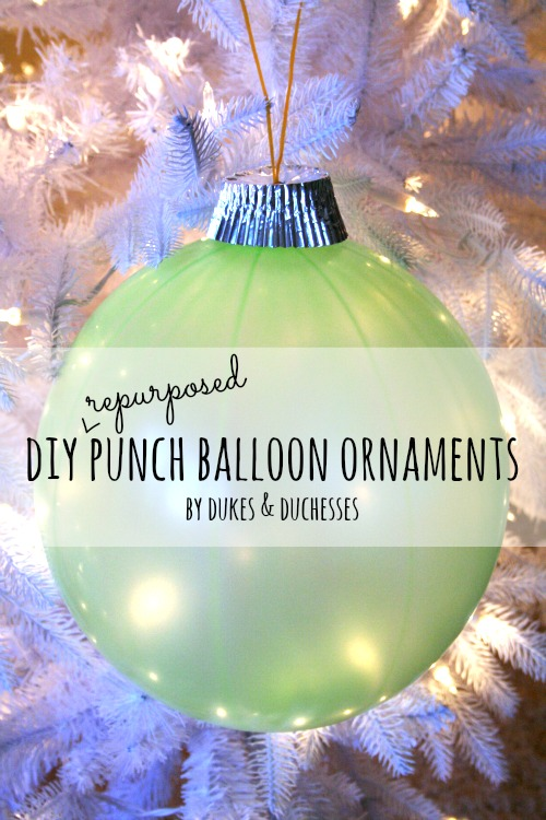 DIY repurposed punch balloon ornaments