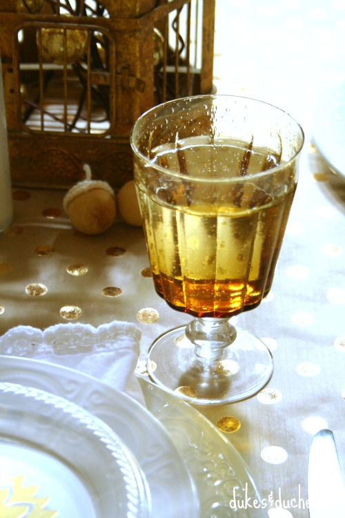 amber glasses for a metallic tablescape