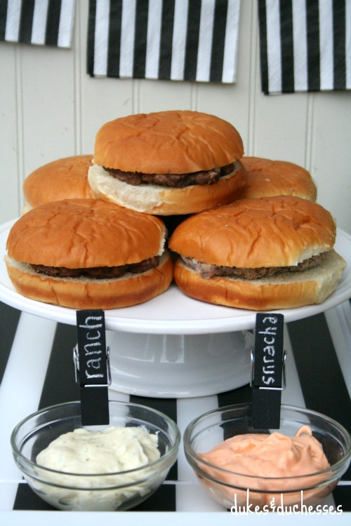 ball park burgers with flavored mayo