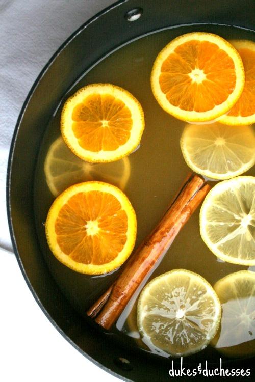 citrus cider in pot