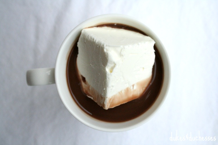 cooling cube in hot cocoa