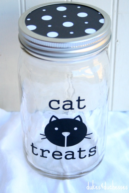 decorated mason jar for cat treats
