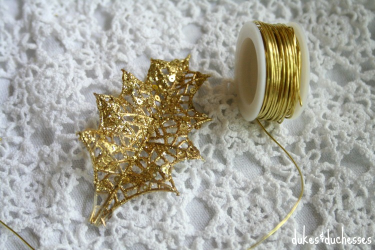 floral pick leaf and wire for napkin rings