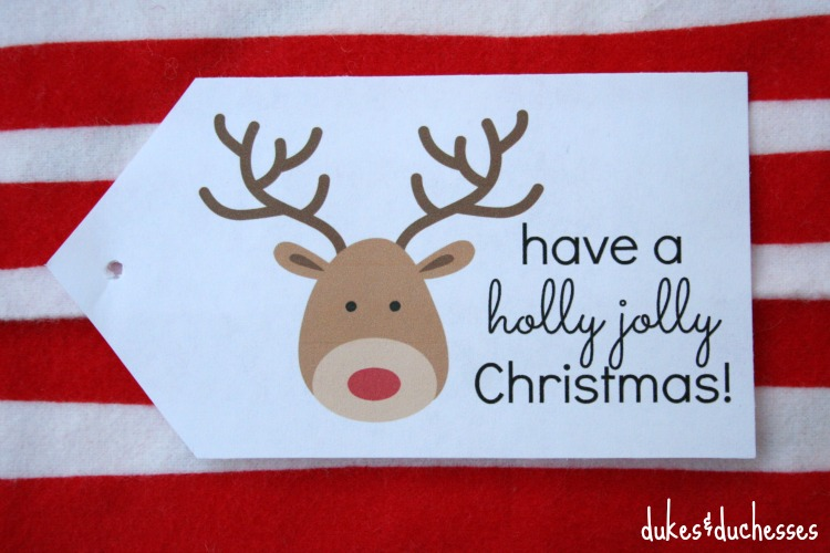 holly jolly Christmas tag printable