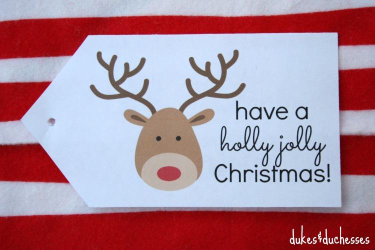 holly jolly Christmas tag printable
