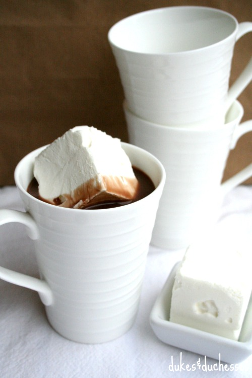hot cocoa and whipped cream cooling cube