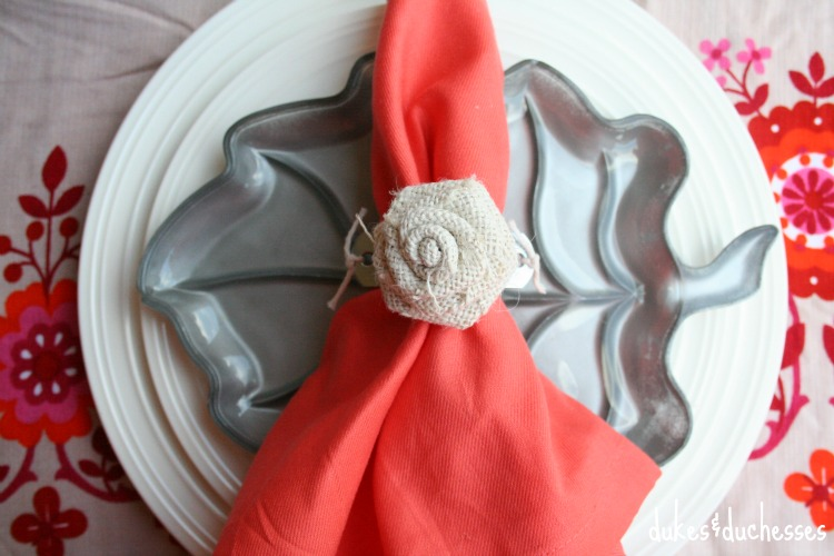 industrial napkin ring with burlap rosette