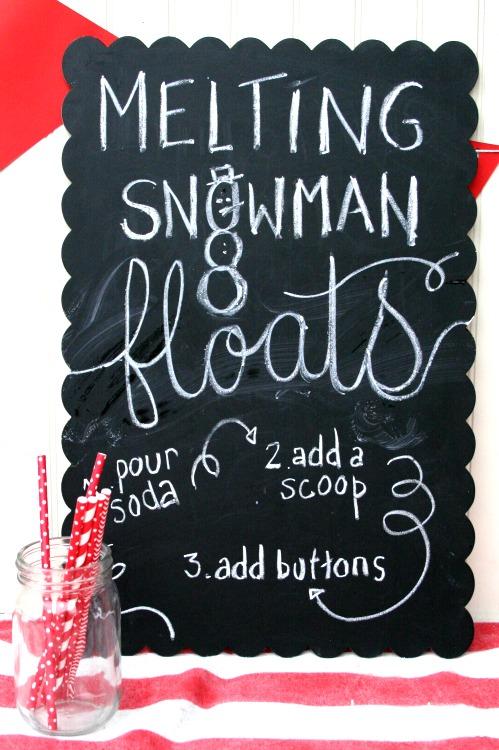 melting snowman floats chalkboard art