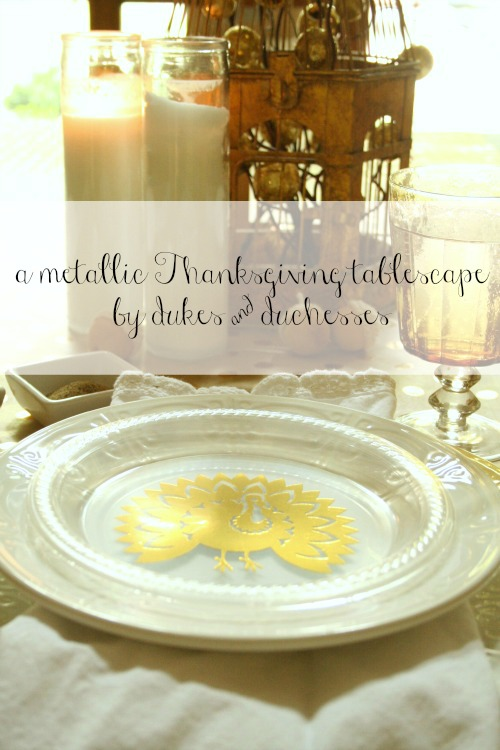 metallic thanksgiving tablescape