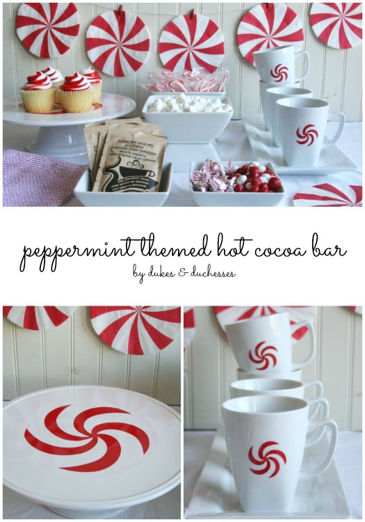 peppermint themed hot cocoa bar for winter
