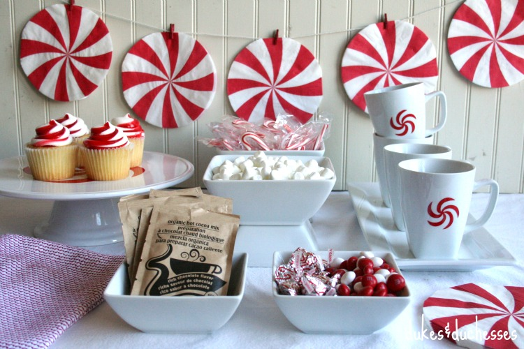 peppermint themed hot cocoa bar