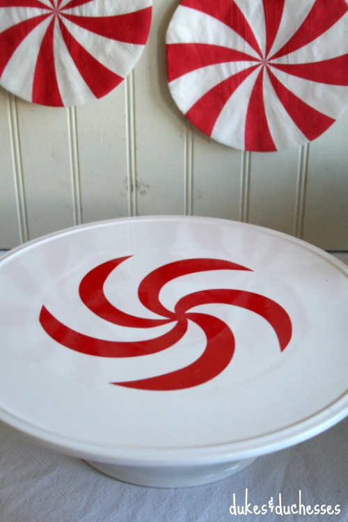 peppermint vinyl on cake stand
