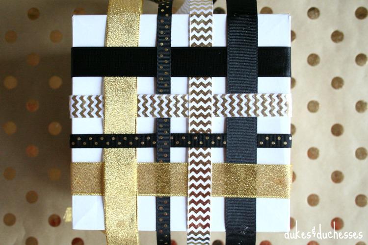 woven ribbon gift wrap idea
