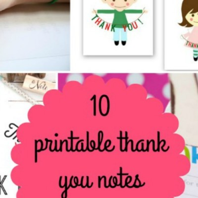 10 Printable Thank You Notes for Kids