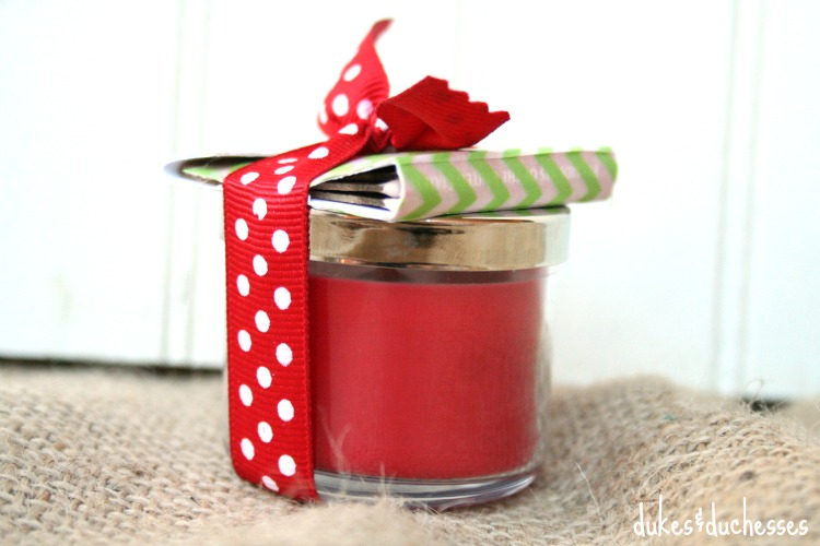 candle gift with washi tape matches