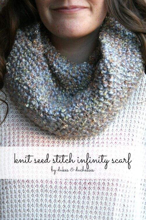 knit seed stitch infinity scarf