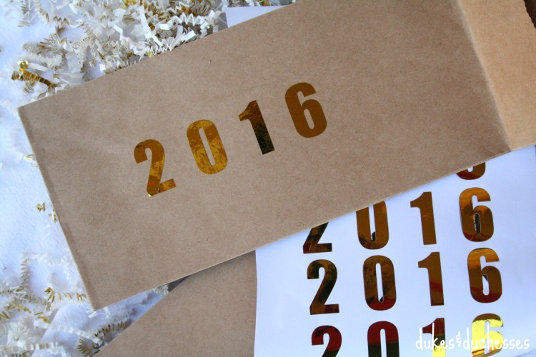 metallic letters on new year's eve party bags