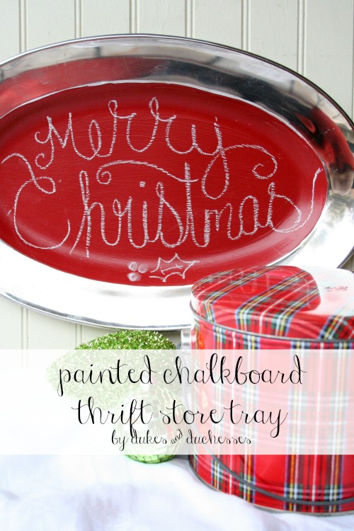 painted chalkboard thrift store tray