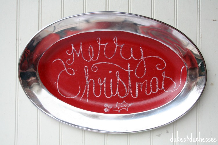 painted chalkboard tray for Christmas