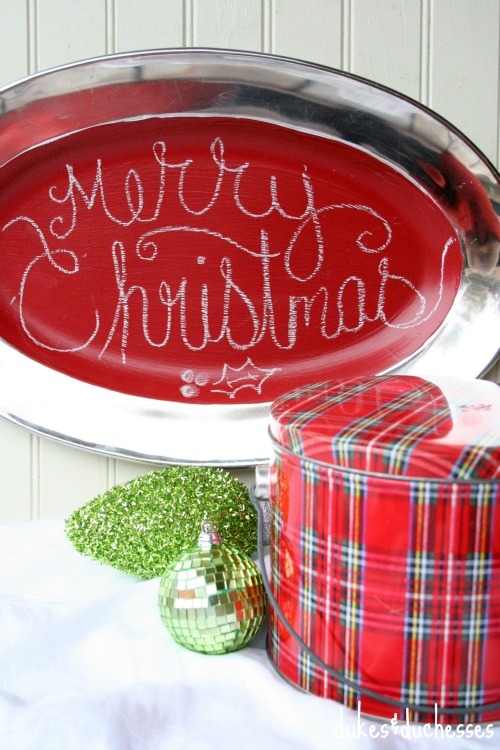 red christmas chalkboard tray
