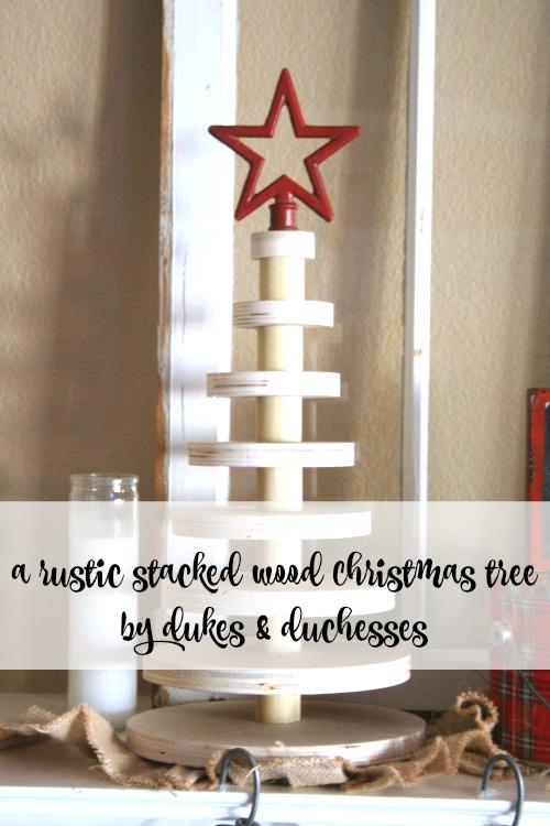 rustic stacked wood Christmas tree