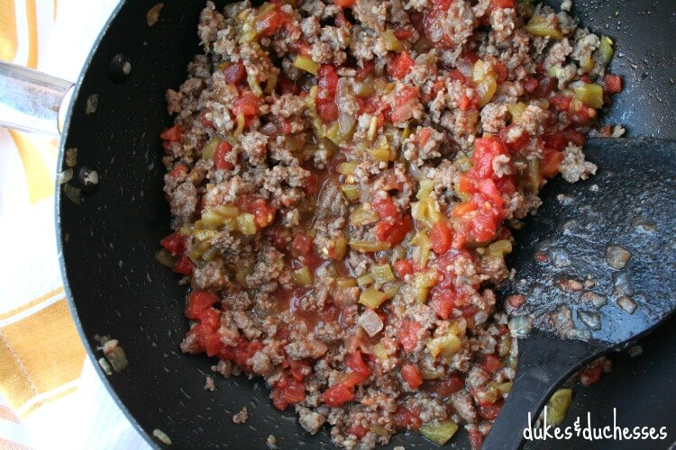 sausage and vegetable mixture for mexican breakfast casserole