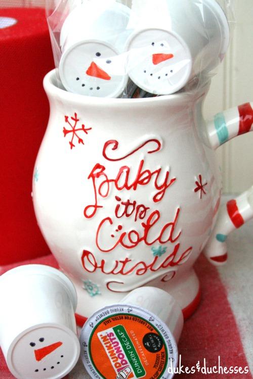 snowman coffee pods in a mug