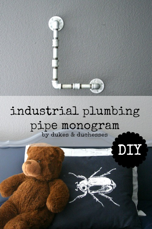DIY industrial plumbing pipe monogram