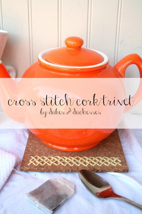 cross stitch cork trivet