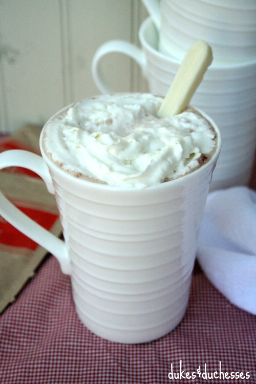 hot cocoa with flavored candy spoon