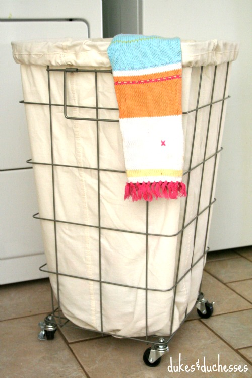 laundry hamper in laundry room