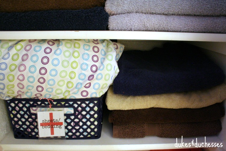 Linen Closet Basket Organization