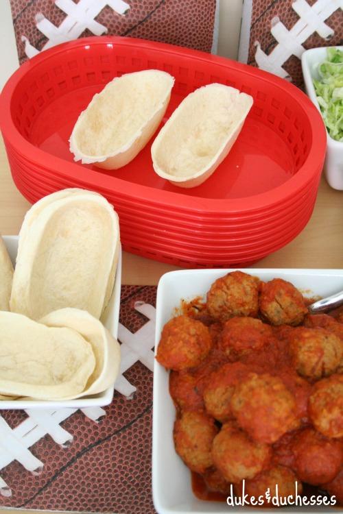 meatballs and tortilla boats