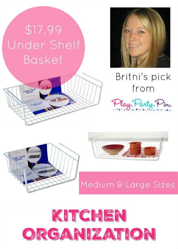 Over 50 of the best organization products from top bloggers! Use these under shelf baskets to organize small things in your kitchen, bathroom, or even craft room!