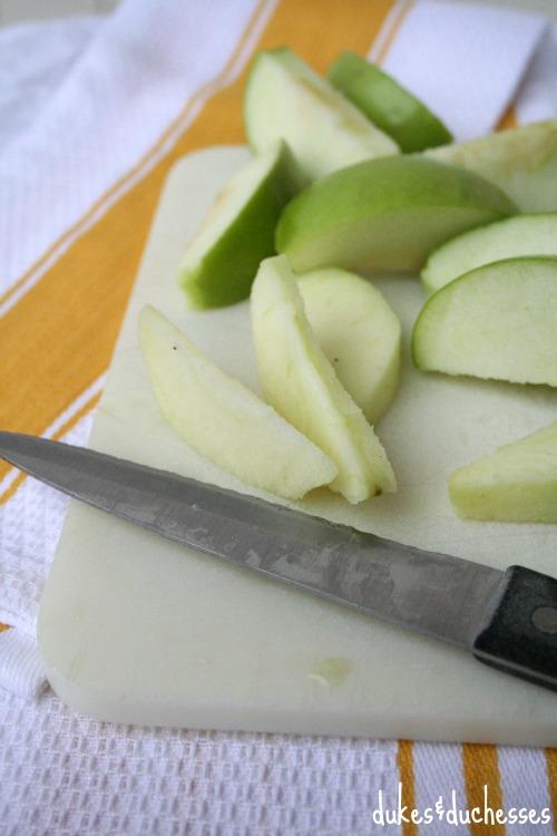 sliced apples for apple dumplings
