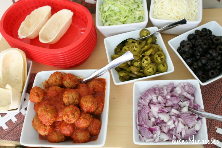 snack station for mini meatball subs