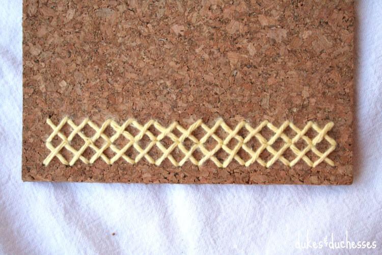 stitches on cork trivet
