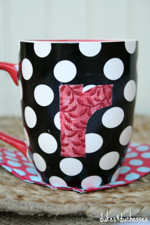 DIY fabric monogrammed mug