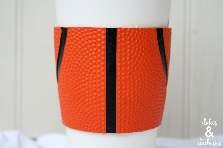 basketball repurposed into a coffee cuff