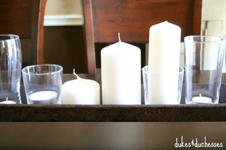 candle centerpiece in dining room