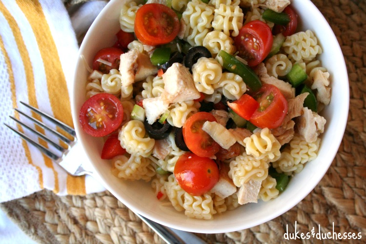 chicken and vegetable pasta salad