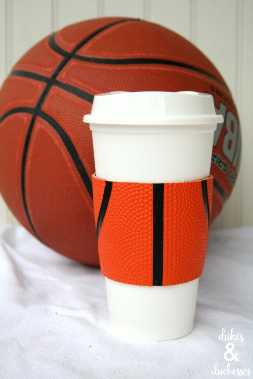 coffee cuff made with basketball